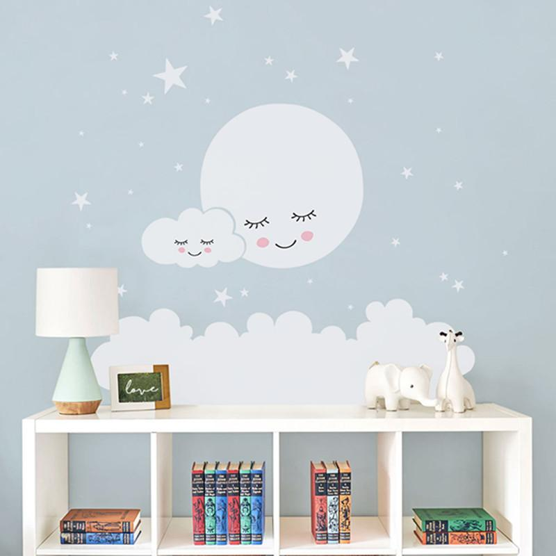 Moon Stars Wall Decal Cloud Nursery Wall Stickers For Kids Room Decal Nursery Wall Sticker Girls Decorative Vinyl Babies T180838 Q190416