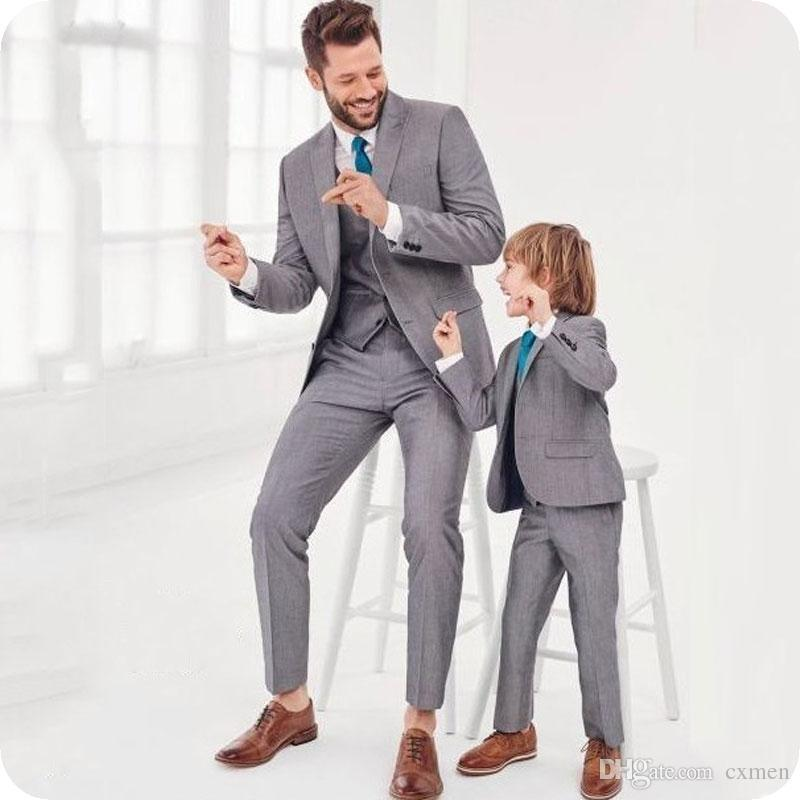 Latest Coat Pant Designs Grey Groom Tuxedos Men Suits for Wedding Peaked Lapel Formal Costume Homme Terno Masculino Best Man Blazers 3Piece