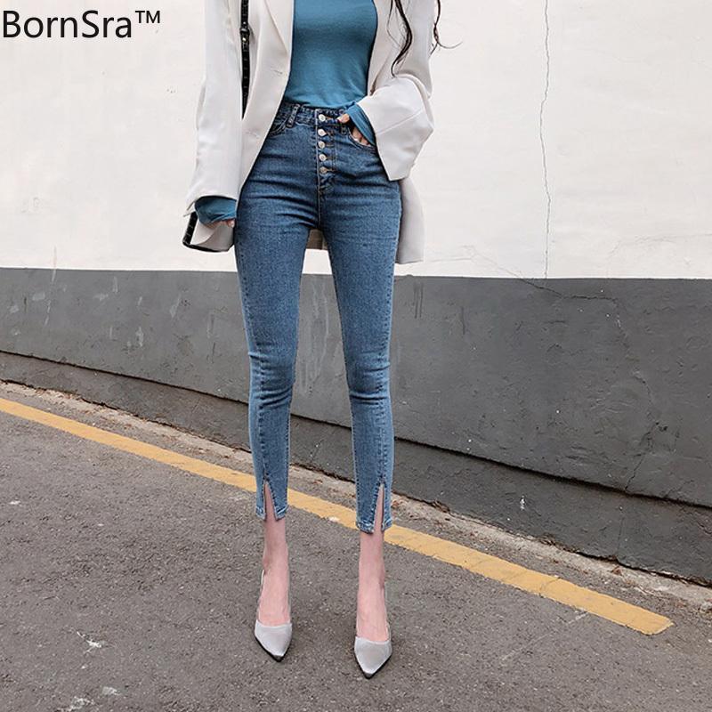 Женские джинсы Bornsra 2021 весенние старинные однобортные женщины джинсовые высокие талии стрейч брюки капризов женская манжета