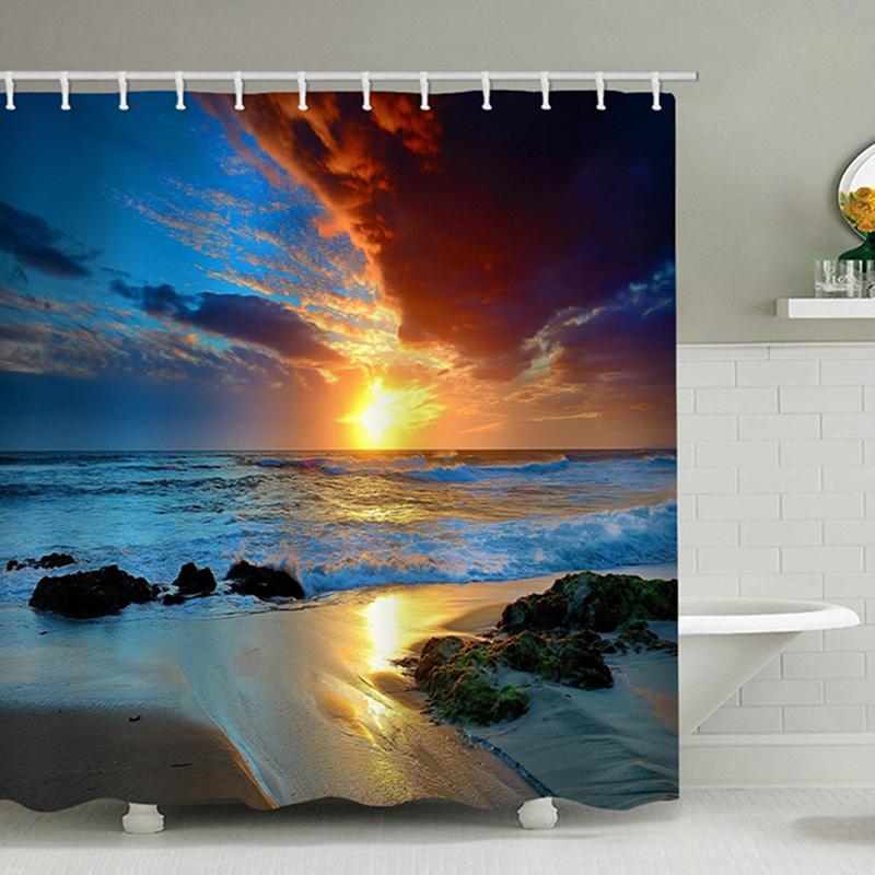 3d rideau de douche Mode soleil Vue de Rocky plage par la mer de bain Rideau de douche imperméable Salle de bains Décoration Y200511