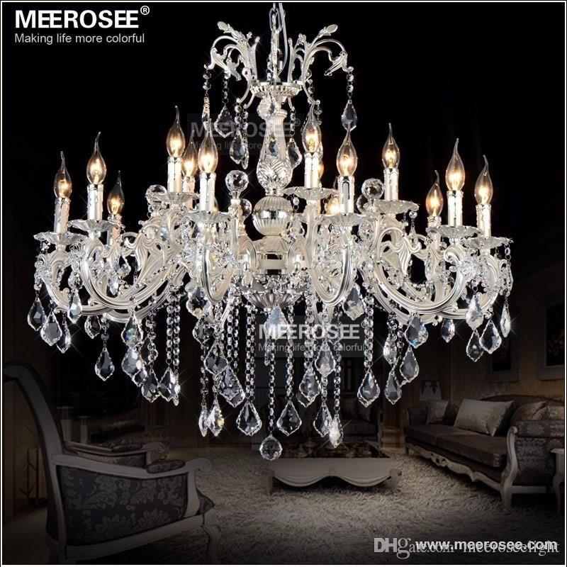 15 Lights Silver Color Crystal Chandelier Lamp Big Crystal Lustre Light Fixture 2 tiers Hotel Villa Cristal Lighting