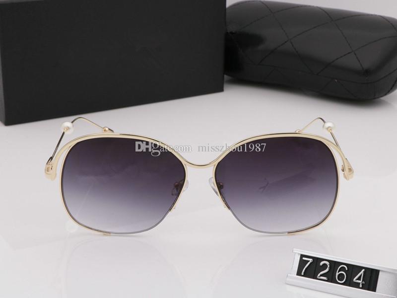 Bayan Marka Tasarımcı Güneş Gözlüğü Inci Büyük kare çerçeve metal Gözlük büyüleyici zarif stil ile anti-UV400 lens eğlence gözlük kutuları
