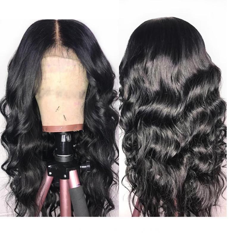 Cabello humano larga onda del cuerpo de encaje completa pelucas Pre desplumados malasio de la Virgen sin cola sin procesar DH Americano africano wigss lacefront transparente