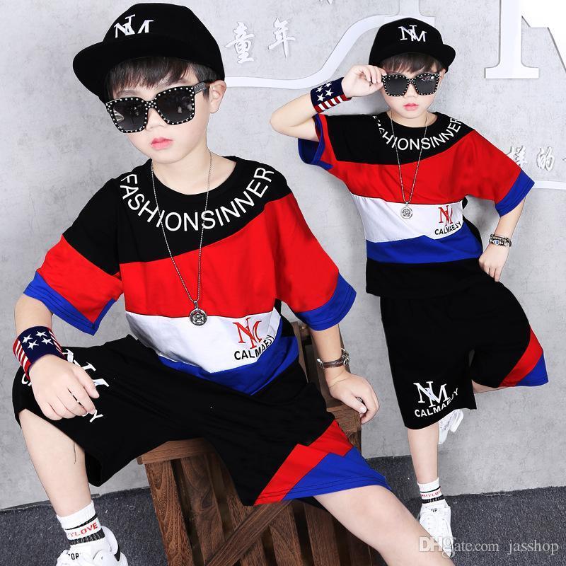 Çocuk Giyim Boys Yaz Kazak Suit Erkek Çocuk Spor Kısa kollu tişört Hip-hop Şort Çocuk Beyzbol Giyim 2 Se