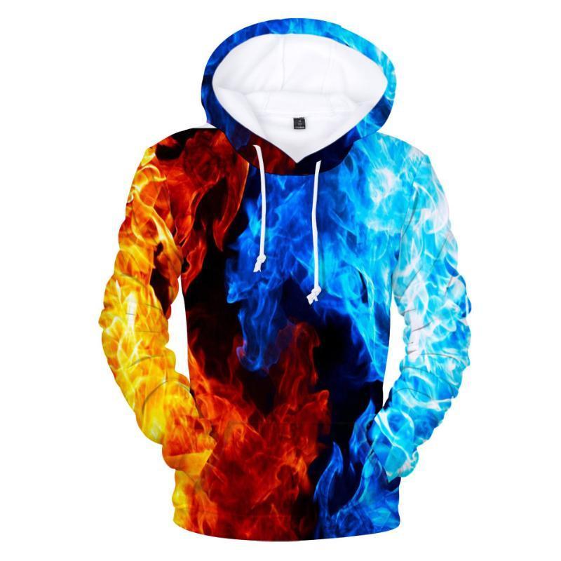 Aikooki Yellow And Blue 3D Fire autumn Men Sweatshirt Women Hoodies outwear Winter Handsome Hooded Male 3D Hoody hop clothes