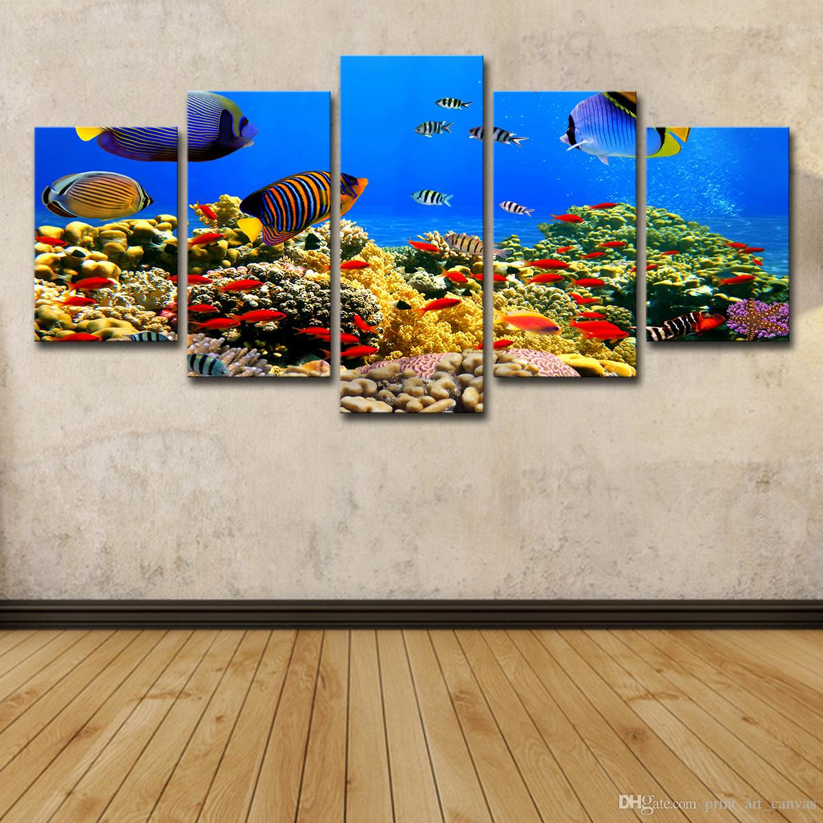 5 Piece HD Printed Marine Fish Coral Painting Canvas Print Room Decor Print Poster Picture Canvas Free Shipping