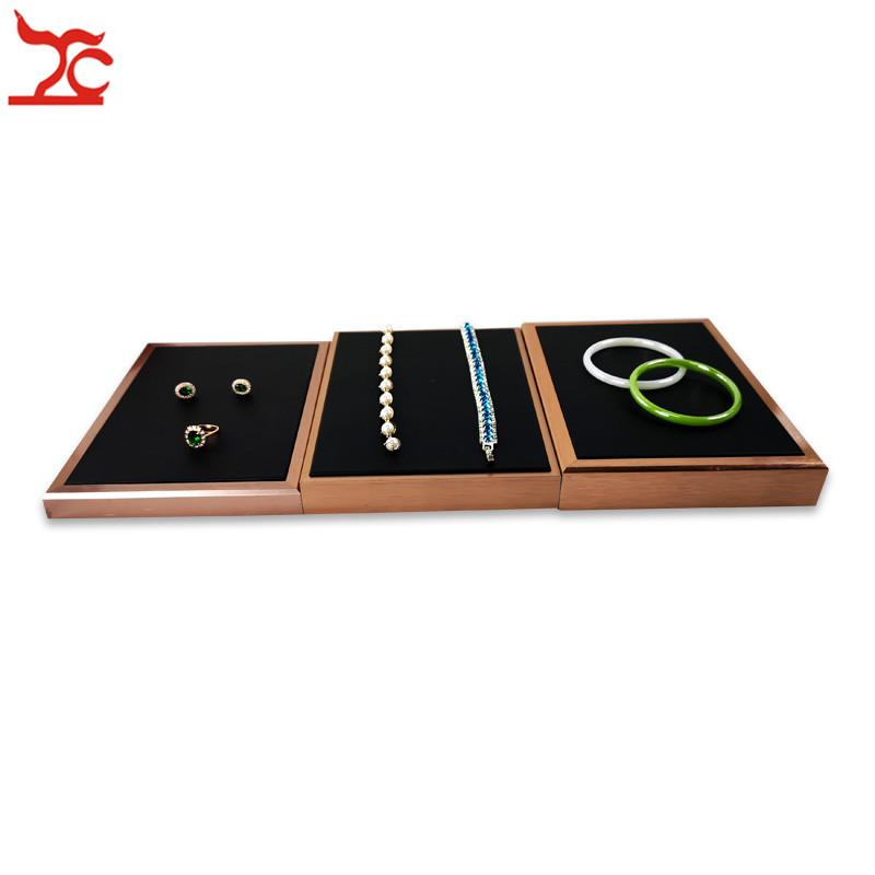 New Fashion Black Velvet Ring Earring Necklace Bracelet Storage Organizer Tray Rectangle Rose Gold Stainless Steel Jewelry Display Case