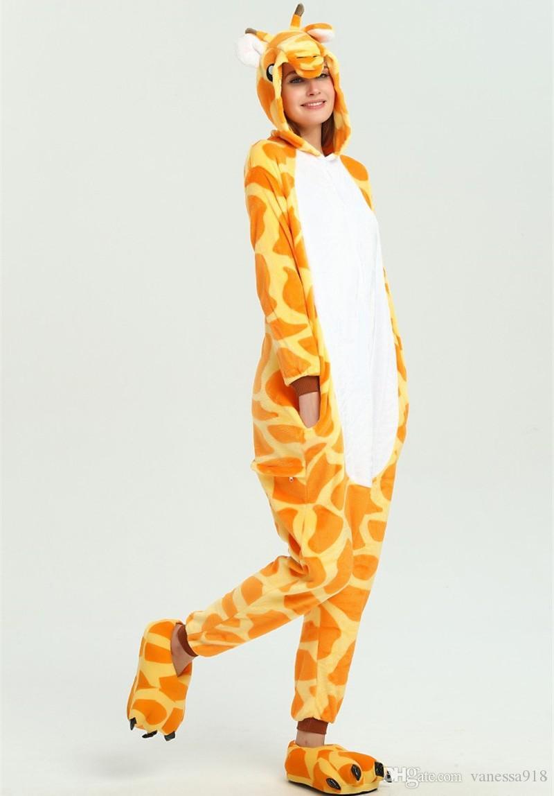기린 동물기구 루미 Anime Onesie children Pajama 성인 양모 점프 슈트 Funny Sleepwear 여성 잠옷 KD-073
