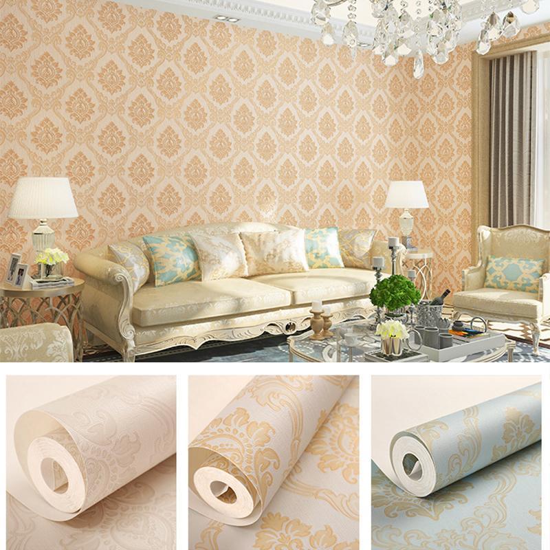 European Classic Elegant Textured Damask Wall Paper Home Decor Metallic Shimmer Damascus Wallpaper Roll, Beige,Cream,Green,Pink