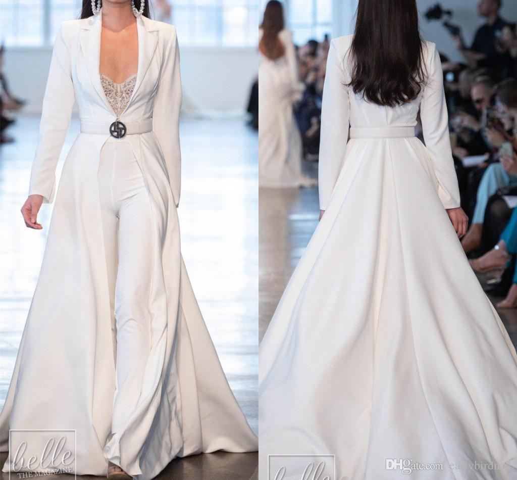 Berta White Prom Dresses Jumpsuits Long Sleeve Satin Long Jackets Evening Gowns Plus Size robes de soirée Pants Suits Party Dress