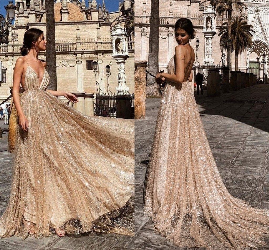 Luxo lantejoulas Soaghetti Prom Dresss Sexy Open Back A linha de Vestido de Noite Rosa de Ouro formal do partido da dama de honra Vestidos