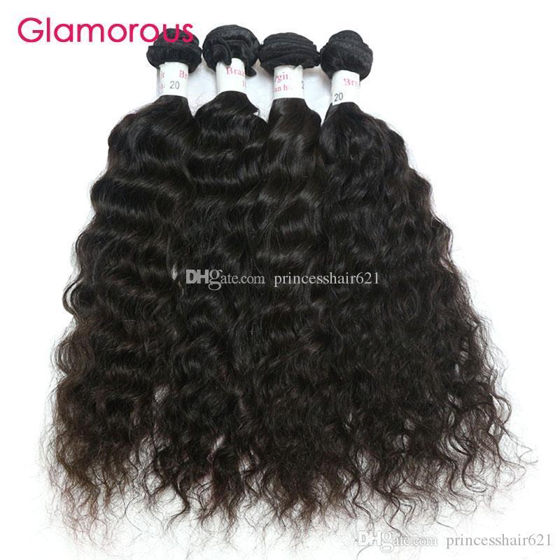 Glamoroso cabelo humano brasileiro 4 pacotes molhados e ondulados cabelo virgem tecer nova chegada peruana indianas indianas ávidas onduladas extensões para mulheres