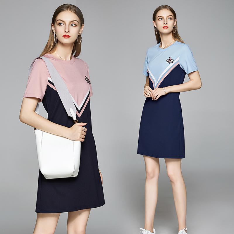 Casual manga corta vestido de niña de moda para el verano mujeres de la manera de vestir de manga corta con cuentas vestidos con encanto