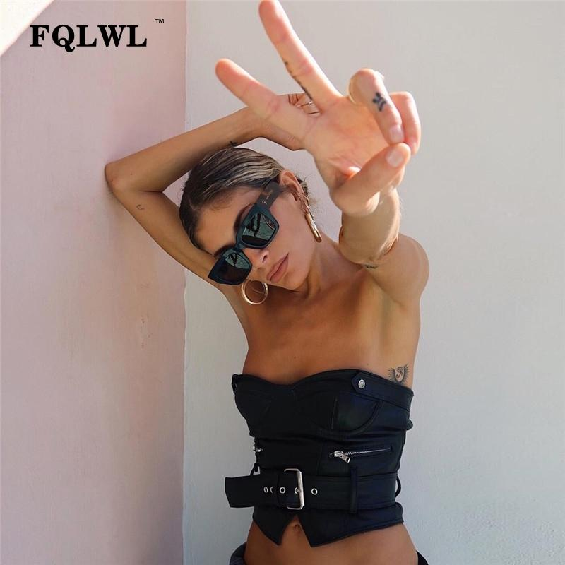 FQLWL Sahte Deri BODYCON Kadınlar Crop Top Sashes Backless Kapalı Omuz Yaz Tank Top Femme Seksi Parti Haut Femme Büstiyer T200409 Tops