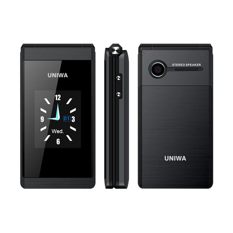 Original UNIWA X28 Senior Flip Phone GSM Big Push-Button Old Man Flip Mobile Phone Dual Sim FM Radio Luxury Business Unlocked Cellphone