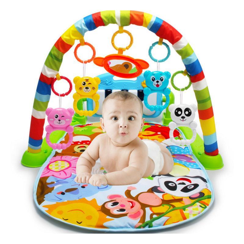 Bebek Playmat Çocuklar Spor Raf Sevimli Hayvan Battaniye Ile Piyano Klavye Çıngıraklar Oyuncaklar Bebek Spor Salonu Tarama Mat Eğitim J190508