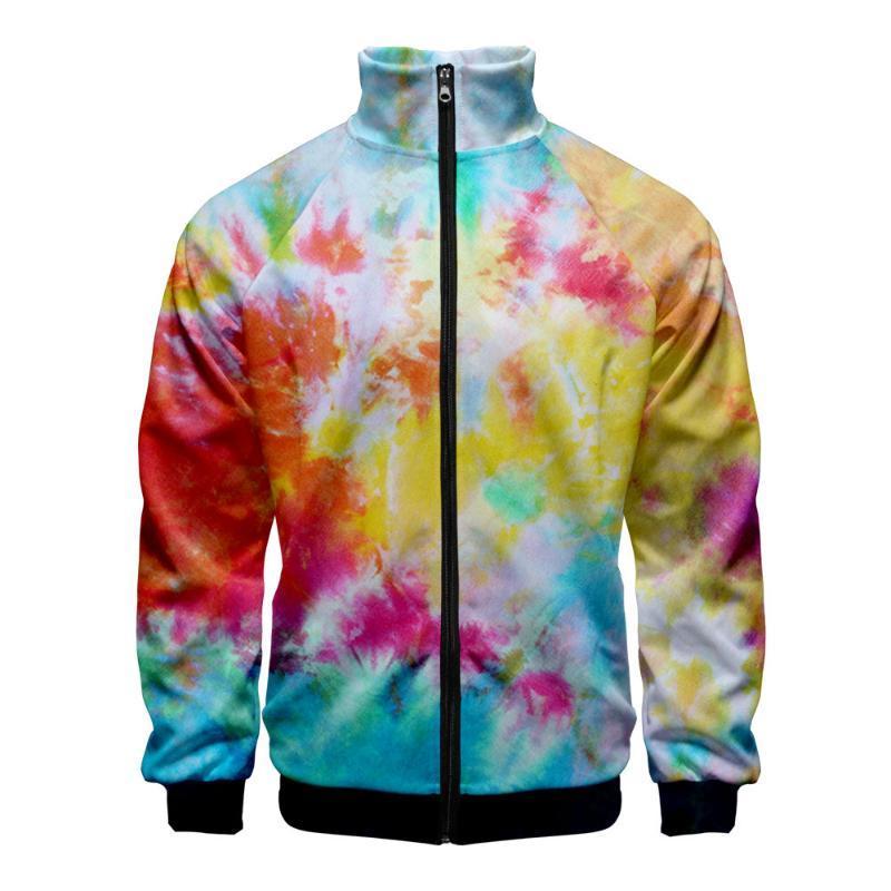 Tie Dye Casacos Streetwear Harajuku capuz Primavera Outono Windbreaker gola fina Zipper Coats Jackets For Men MHS100