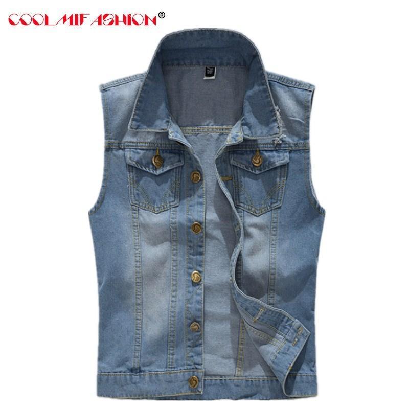 Denim Gilet da uomo vintage design maschile bule colore slim fit giacche senza maniche uomo foro jeans di marca gilet plus size gilet uomo