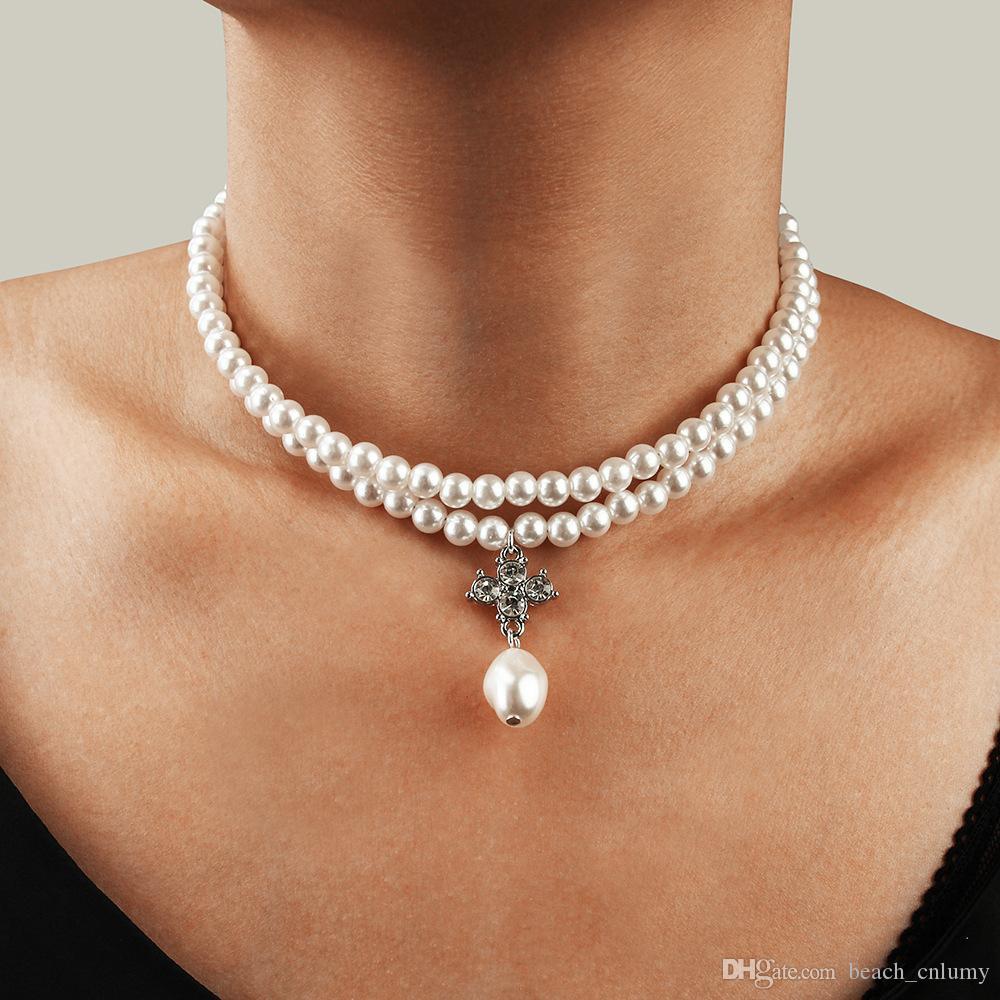 UK BOHO STONE CHARM DOUBLE LAYER CHOKER NECKLACE Silver Chain Fashion Jewellery