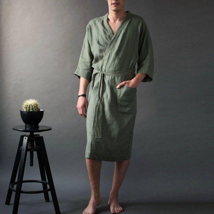 ملابس خاصة للرجال بأكمام قصيرة الأكمام منامة البيجامة رداء طويل أثواب الحمام بأكمام طويلة حمام الذكور المنزل الصلبة سماكة ثوب خلع الملابس