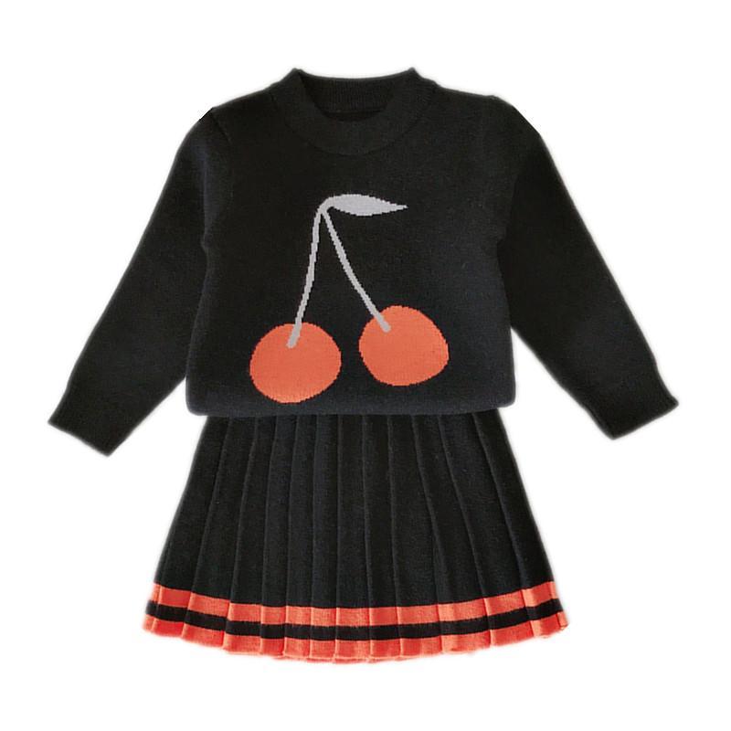 2-6 l'anno di stampa dei capretti neonate ciliegio lavorato a maglia pullover maglione con pieghe gonne moda casual bambina due pezzi set CJ191202