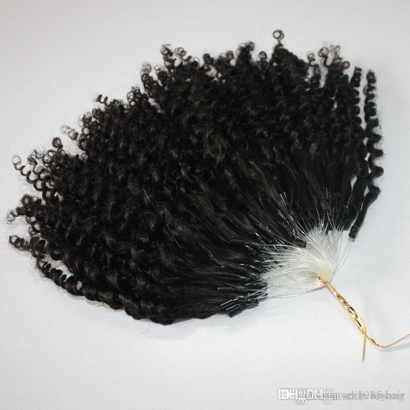 Fedex DHL-freies CER bescheinigten Jerry Curly Mikroring-Haar-Verlängerungen 400s / lot Versaute Curly Schleifen-Haar-natürliche Farbe Schleifen-Haar