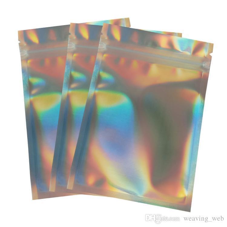 holographische Verpackungsbeutel PET Laser Farbe Aluminiumfolienbeutel Resealable Zip Tasche Eine Seite klar zurück Plastikverpackungsbeutel Geruch Proof Pouches