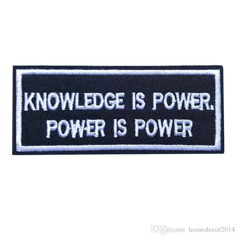 10x4CM Embroidered Sew Iron On Patches Letters Slogan Knowledge Power Black Badges For Dress Jeans T Shirt DIY Appliques Craft Decor