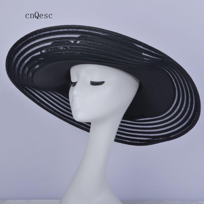 cappello estivo cappello di 2019 X Large Black Ladies formale abito PP paglia cappello da sole per prom mother'day Races Kentucky Derby