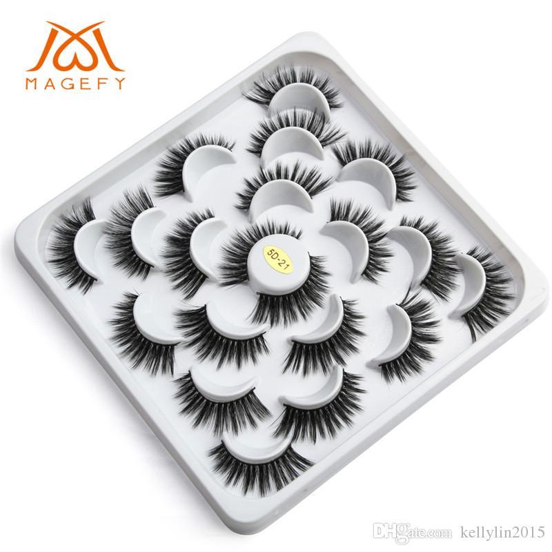 10pairs 5D 밍크 속눈썹 가짜 속눈썹 확장 속눈썹 두꺼운 자연 긴 손으로 만든 가짜 눈 속눈썹 메이크업 도구