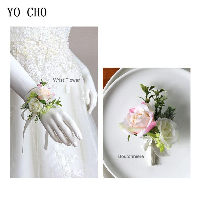 2020 Silk Roses Bride Wrist Corsage Flower Pink Groom Boutonniere