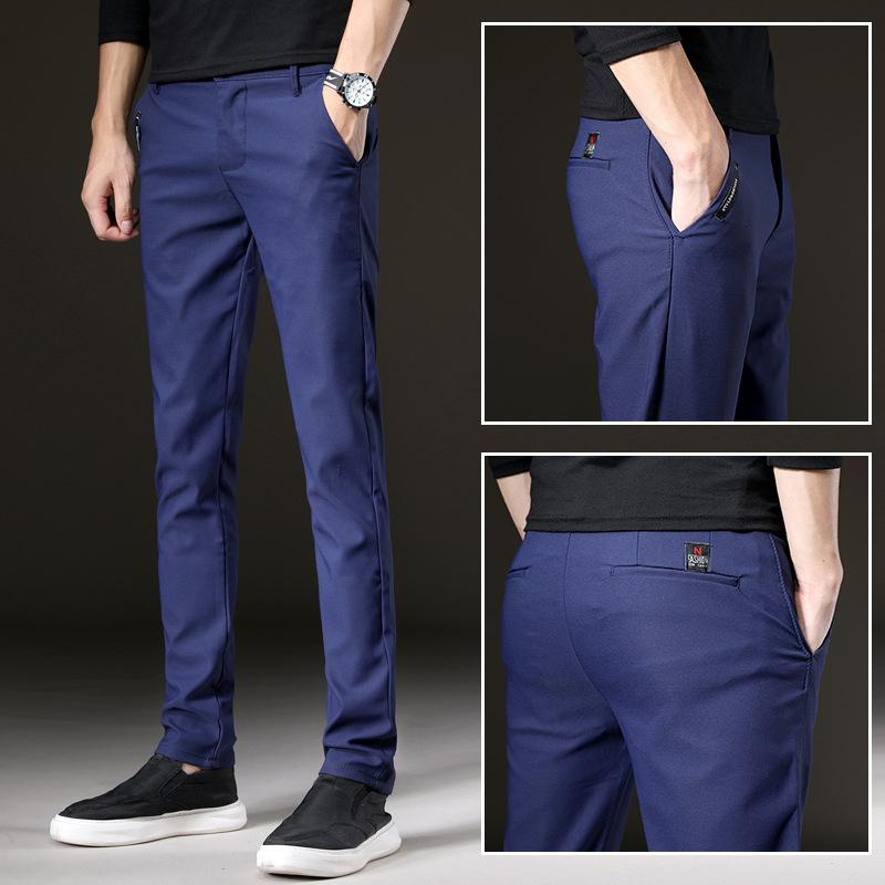 Men's Pants 2021 Spring Multicolor Casual Business Fashion Elastic Solid Color Slim Fit Trousers Male Brand Clothes