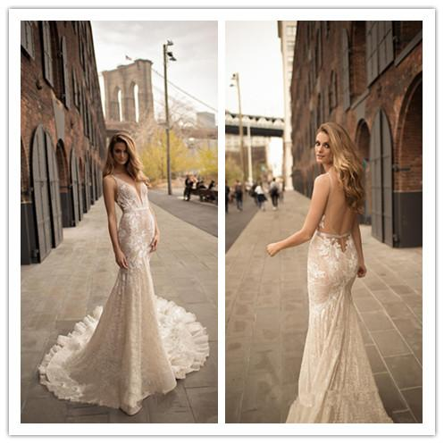 Berta Wedding Dress Collection 2019 Nigerian Lace Styles Mermaid Backless Sleeveless Adoration V Neck Sheer Neck Bridal Gowns