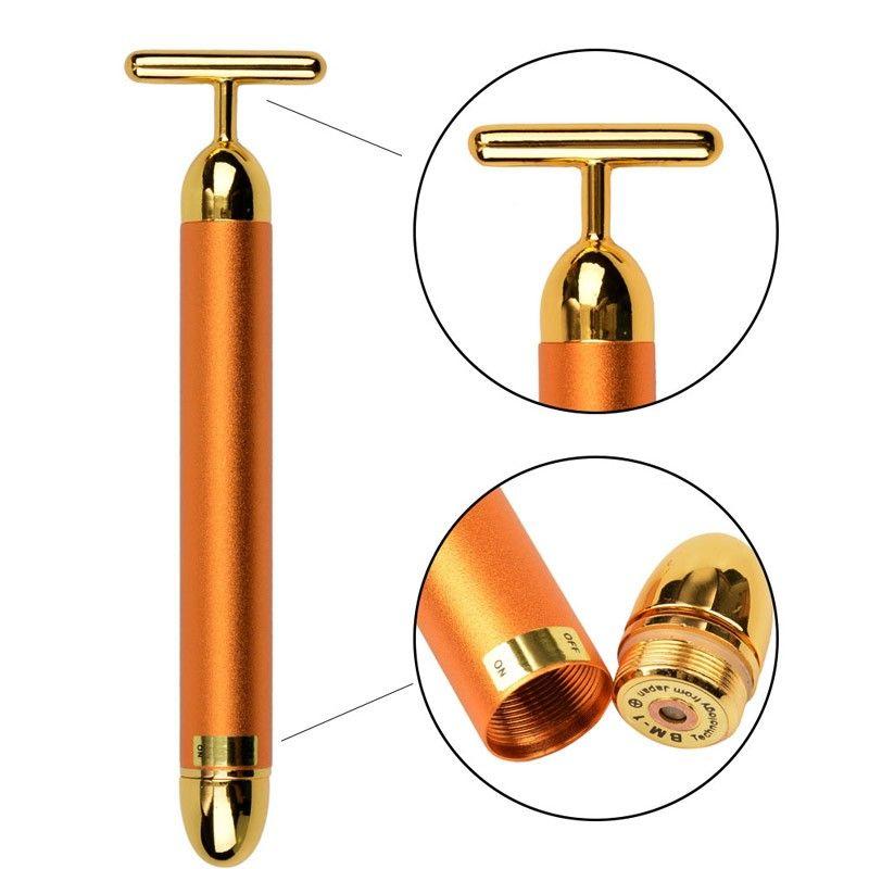Hot Sale Beauty Slimming Face 24k Gold Vibration Facial Beauty Roller Massager Stick Lift Skin Tightening Wrinkle Bar Face Tool
