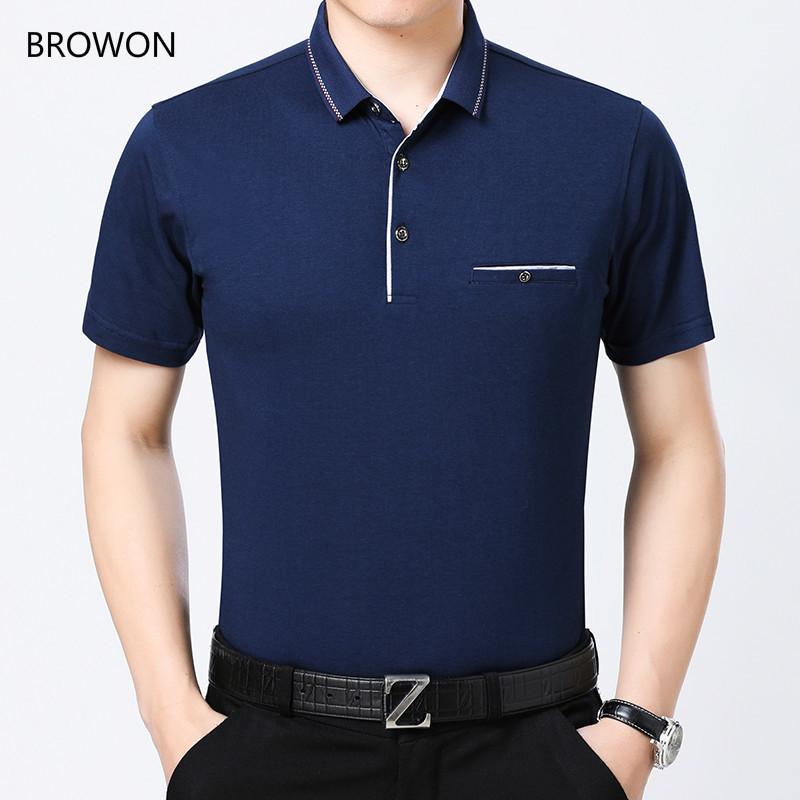 BROWON Size M-3XL New Short Sleeve T-shirt Men Casual Solid Color Turn-down Collar Slim Tshirt Men for Summer Cotton Tops T200528