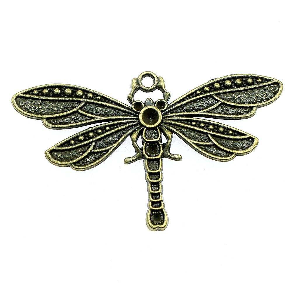 5pcs tibetan style dragonfly pendant with  cabochon setting jewellery craft UK