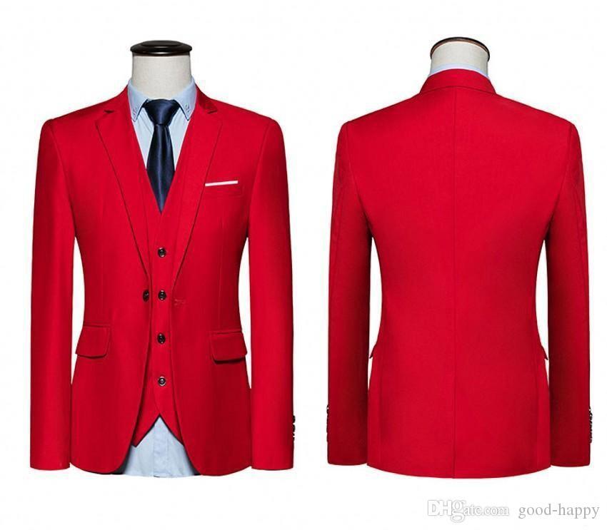 Nouvelle arrivée rouge slim fit smokings mariage mariage entaille revers un bouton marié smokette 2019 style hommes costume 3 pièces (veste + pantalon + cravate + veste)