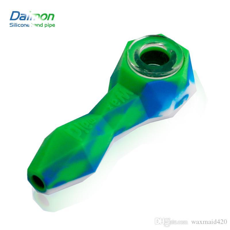 Waxmaid tubería de tabaco para pipa mano de silicona al por mayor diamante Bong la plataforma petrolera de accesorios que fuman 11 colores para elegir