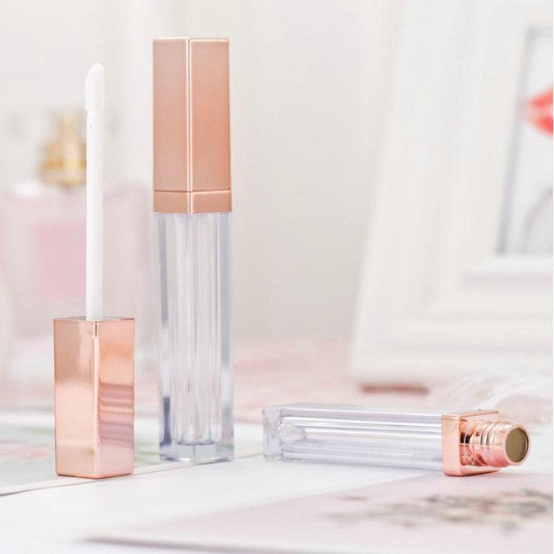 5ML Lip Gloss recipientes vazios Praça Lip Gloss tubo Maquiagem Lip Oil recipiente plástico Tubes Black Gold Rose