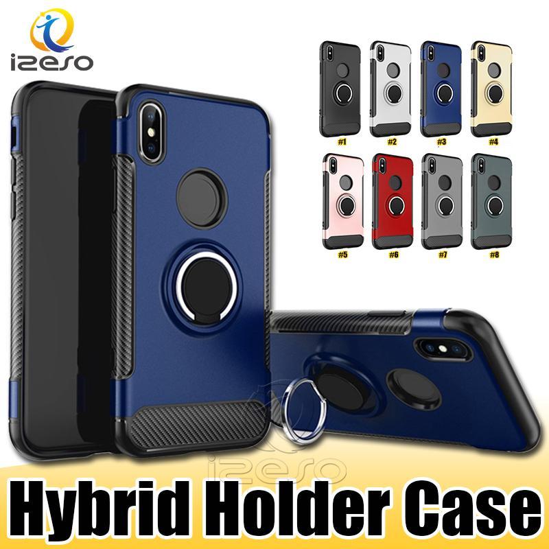 Armure en fibre de carbone Téléphone Housse pour Samsung S20 Ultra Note 10 M10 A40 A30 J8 J6 J4 A8 antichocs Kicstand Shell Holder