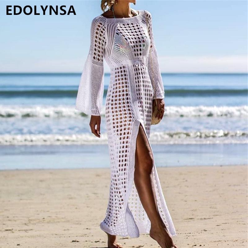 2019 Crochet White Knitted Beach Cover up vestido túnica larga Pareos traje de baño coverup Swim cover up Robe Plage Beachwear # Q716