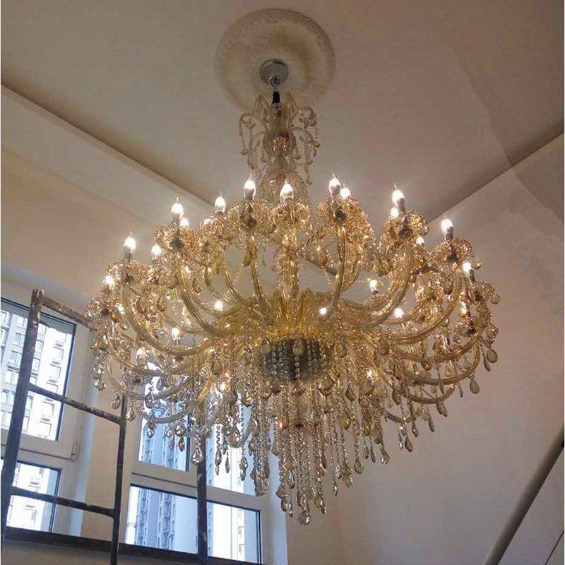 cristal de luxo europeu lustre sala de estar quarto Continental Villa Chandelier Hotel Lobby Chandelier Vendas Salão Ligh Lamp ZG8183