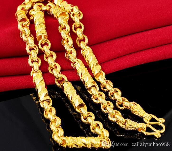 Gerçek Altın Katı Silindirik Kolye Erkek 18 K Altın Kaplama erkek Büküm Bambu Kolye Kum Altın