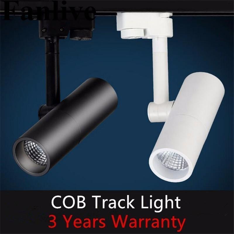 Fanlive 8 pcs 7 W 10 W 15 W COB LED Spot Track Light 110 V-220 V Teto Moderna Casa Deco Ferroviário Fixutre Para Loja de Pano Galeria de Arte