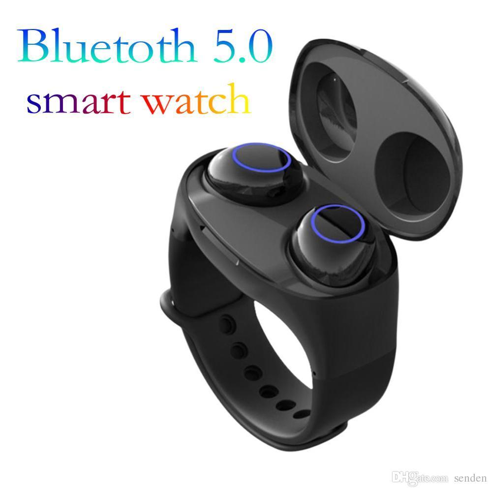 Reloj inteligente HM50 Verdaderos auriculares inalámbricos TWS Auriculares con control táctil de Bluetooth5.0 Auriculares HiFi con brazalete Estuche de alimentación para IOS Android