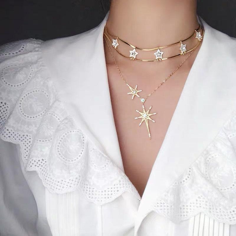 Doğum Hediye Klasik Stil Yıldız Kızlar kolye Kişilik Hollow Kadınlar Clavicle Zinciri INS Moda Yüksek Kalite Altın Kolye