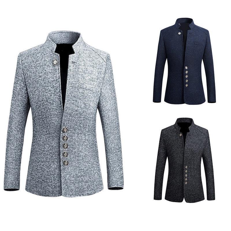 Vintage blazer jaqueta homens 2018 2018 Chinês estilo de negócios casual homem blazer terno jaqueta colar fino masculino 5xl