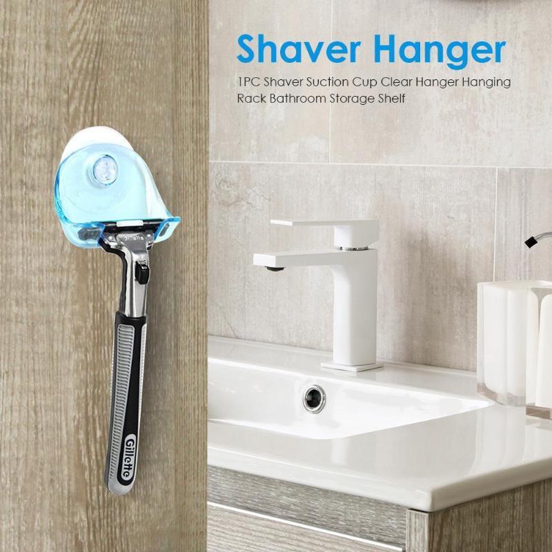 Plastic Shaver Hanging Rack Clear Storage Shelf Sucker Suction Cup Razor Holder Organizer Bathroom Product