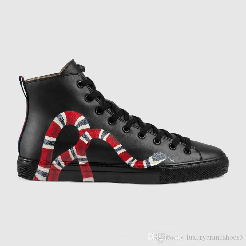 Gerçek Deri Casual Ayakkabı Düz Hi-Top Sneakers Siyah Beyaz Kaplan Kafa Yılan Desenli Açık Çalıştır Mens