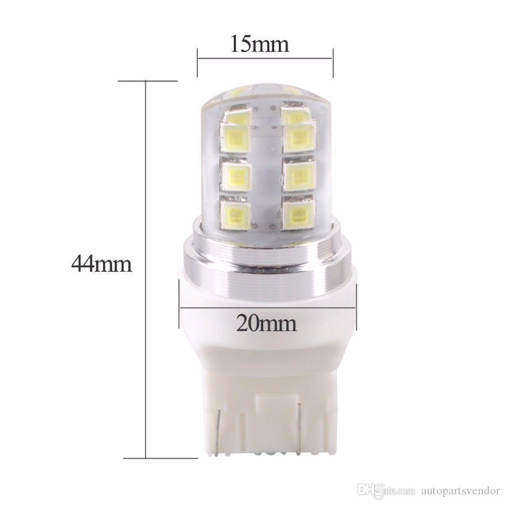10pcs / porción T20 7443 estroboscópico de las luces de destello 12 SMD 2835 LED de silicona de las luces de marcha atrás Freno de estacionamiento lámpara blanca luces del coche rojo